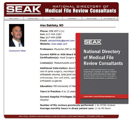 SEAK Directory of Medical File Review Consultants